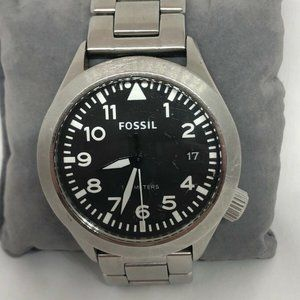 Fossil Men's Stainless Steel Black Dial Watch KG12